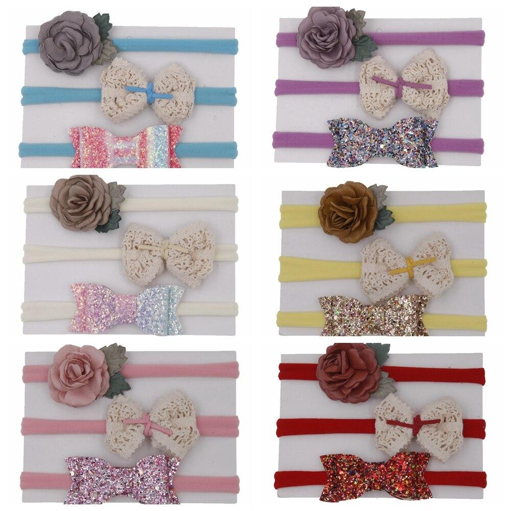 Yundfly 3 unids/pack Vintage niño diadema de nailon encaje conjunto de bebé conjunto de Diademas Niña Niños Accesorios de cabello cable