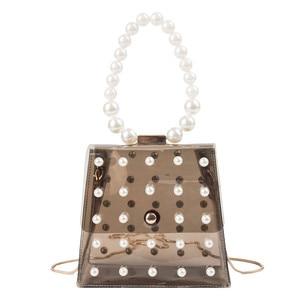 women pvc  Bag  lady pearl jelly bags summer Bag for girls Fashion beading  handbag Girls Casual Crossbody elegant Shoulder Bag