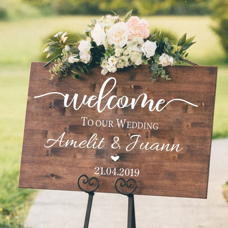 AliExpress - Welcome Wedding Sign Stickers Engagement /Celebration Mural Vinyl Decal Baptism/Birthday Wedding Decoration Reception Decor