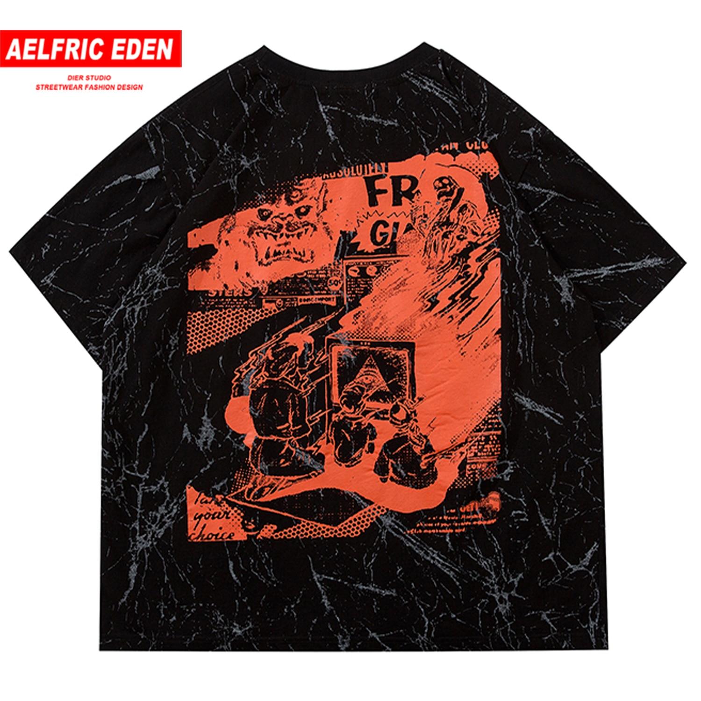 Aelfric Eden Tie Dye Harajuku T Shirt Mens 2020 Family Print Short Sleeve Hip Hop T Shirts Streetwear Male Casual Cotton Tops