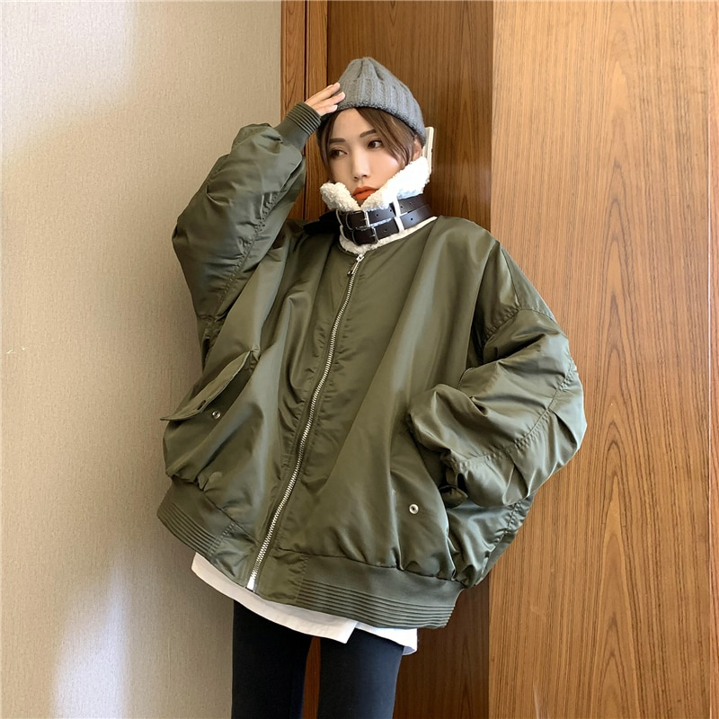 2021 جديد الشتاء سترة النساء الشارع ارتداء الكورية القطن أبلى زائد المخملية مبطن معطف دافئ ملابس الشتاء امرأة القطن