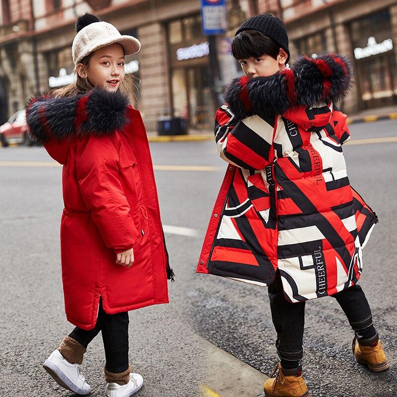 Abrigo de invierno cálido para niños chaquetas de plumón desgaste en ambos lados bebé niñas pato Parkas abrigos de piel sintética collar niños ropa de abrigo 5-15T
