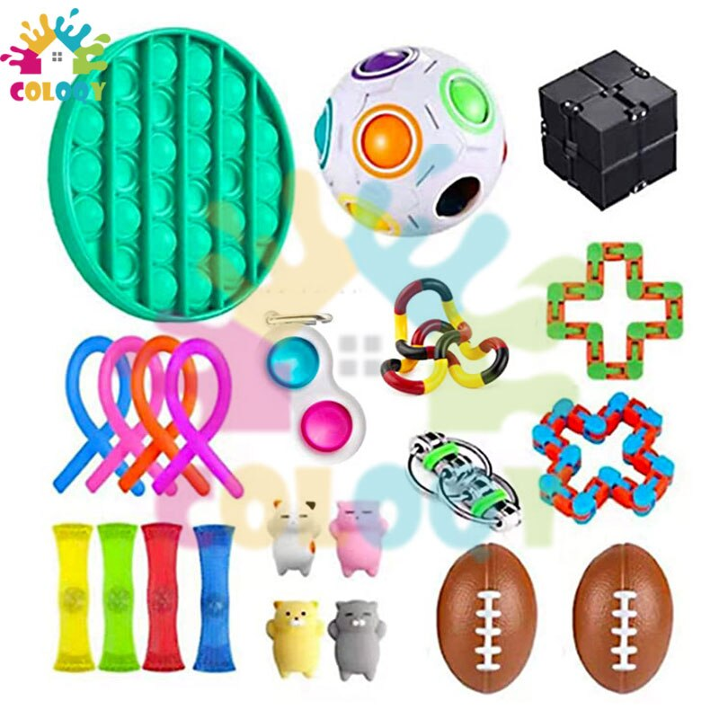 COLOQY 5 Fidget Toys Pop it Sensory Antistress Toy Pack Squishy Squish mallow Decompression Stress Reliever Toy For Adults Kids enlarge