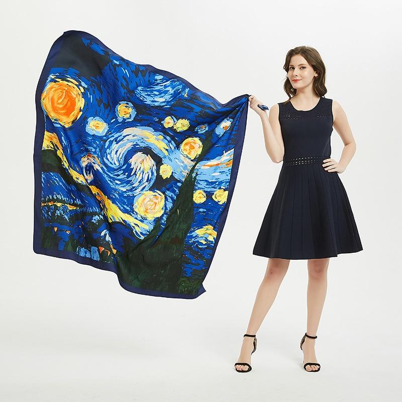 130x130cm prenda superior de seda Van Gogh sky lujosas bufandas para mujer Fular cuadrado Hijab bufanda para mujer chal envolvente bufanda pareo hijab femenino