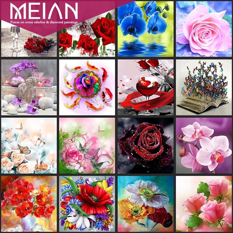 2020Meian Flower5D DIY diamante mosaico de rosas pintura de flores, diamantes punto de cruz mosaico redondo de diamantes de imitación decoración del hogar regalo