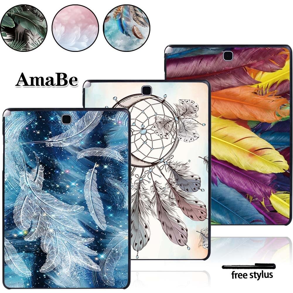 Funda con patrón de plumas para Samsung Galaxy Tab A T550 T555 SM-T550 SM-T555 de 9,7 pulgadas, funda de tableta, carcasa de plástico duro, funda