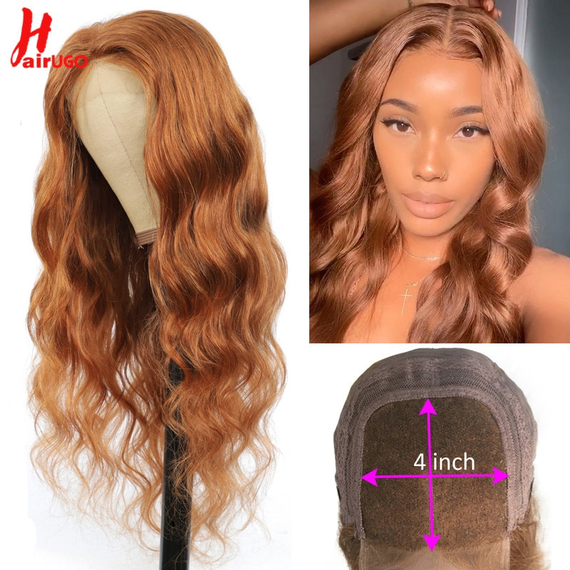 HairUGo Body Wave Brown Lace Closure Human Hair Wigs 30# 4x4 Lace Closure Wigs Peruvian Remy Pre Plucked Colored Wigs For Women