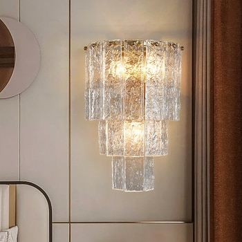 Frosted glass lamps for wall decor bedroom bedside lamp sconce lamp on the wall living room Interior lighting