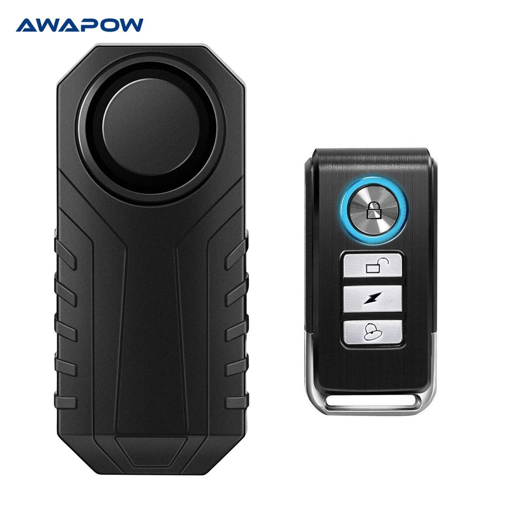 Awapow Waterproof Bike Motorcycle Electric Bicycle Security Anti Lost Wireless Remote Control Vibration Detector Alarm