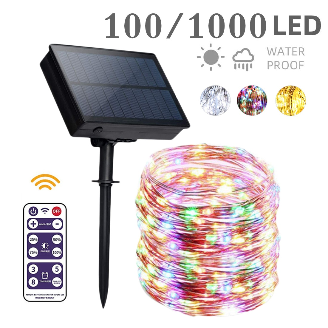 Cable de cobre Multicolor a prueba de agua, lámpara LED Solar para exteriores, tira de luces 100/200/300 guirnaldas de luces LED para vacaciones, fiesta de navidad