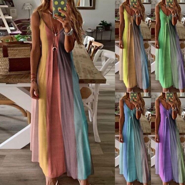 Vestido estampado de arco iris para mujer, vestido Sexy con tirantes finos y escote en V, vestido informal ajustado de cintura alta, vestido veraniego holgado de playa