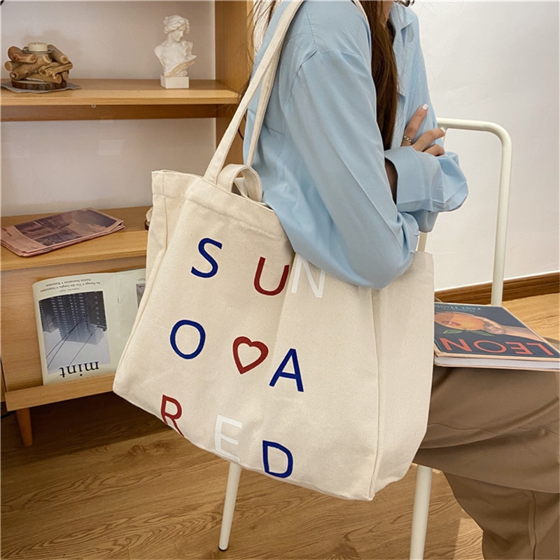 Women Canvas Shoulder Bag Letter Print Ladies Shopping Bags Cotton Cloth Fabric Grocery Handbags Tote Books Bag for Girls