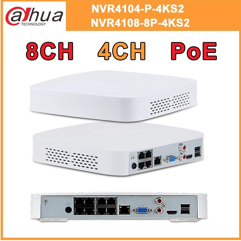 Original Dahua 8MP 4K PoE 8CH NVR NVR4108-8P-4KS2 DH 4CH NVR4104-P-4KS2 4/8CH Video Recorder H.265 Support ONVIF 2.4 SDK CGI