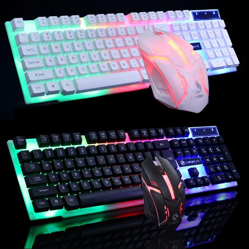 Juego de teclado de ratón con cable Arco Iris teclado USB retroiluminado para juegos de ordenador soporte para Gamer llavero suspendido cóncavo para MAC PC
