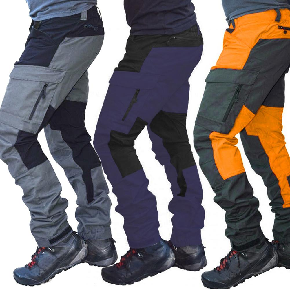 Men's Side Pockets Cargo Harem Pants Hip Hop Casual Male Joggers Trousers Fashion Casual Sports Long Cargo Pants Work Trousers