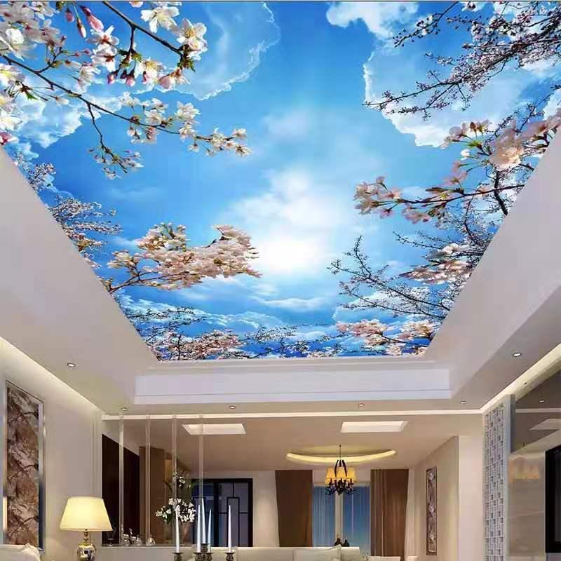 Personalizado cielo azul nube blanca techos pared Mural moderno 3d techo murales papel tapiz 3d techos 3d papel pintado con paisaje
