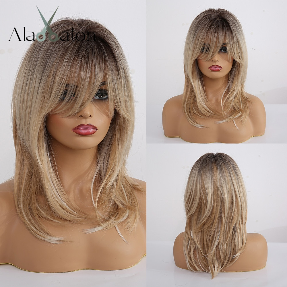 ALAN EATON Synthetic Wigs Long Straight Layered Hairstyle Ombre Black Brown Blonde Gray Ash Full Wig