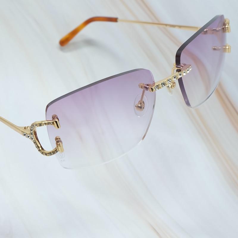 نظارات شمسية للرجال بتصميم جذاب وأنيق مع عدسة دائرية من Carter مع سلك C بأحجار الراين للنساء فاخرة