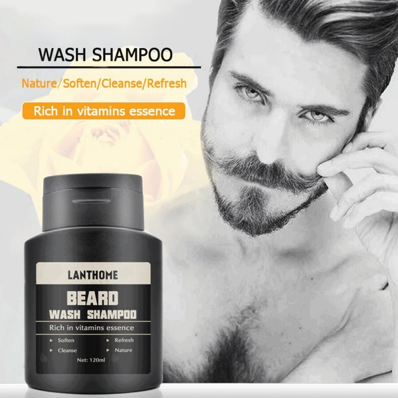 Champú para Barba para hombres, esencia de vitamina, limpiador, hidratante, champú nutritivo para Barba