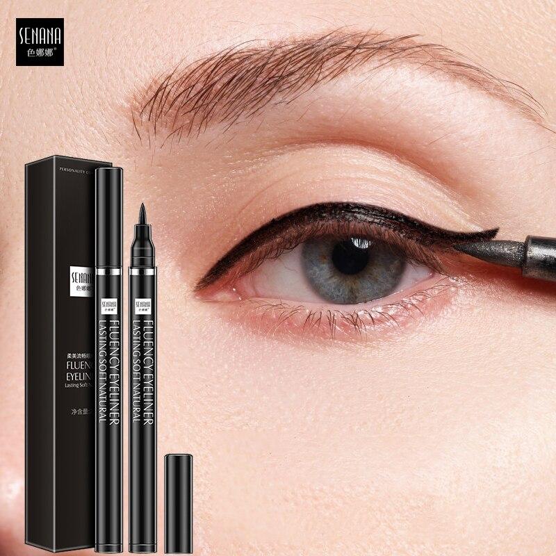 SENANA-delineador de ojos a prueba de agua, resistente al sudor, líquido de secado rápido sin fusión delineador de ojos, agrandar los ojos en negro, duradero, maquillaje de ojos suave