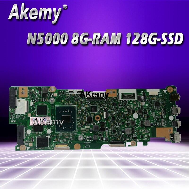 with N5000 4G-RAM 128G-SSD  Laptop  Motherboard For Asus Vivobook Flip TP401NA TP401N TP401MA TP401M Mainboard 100% Test good