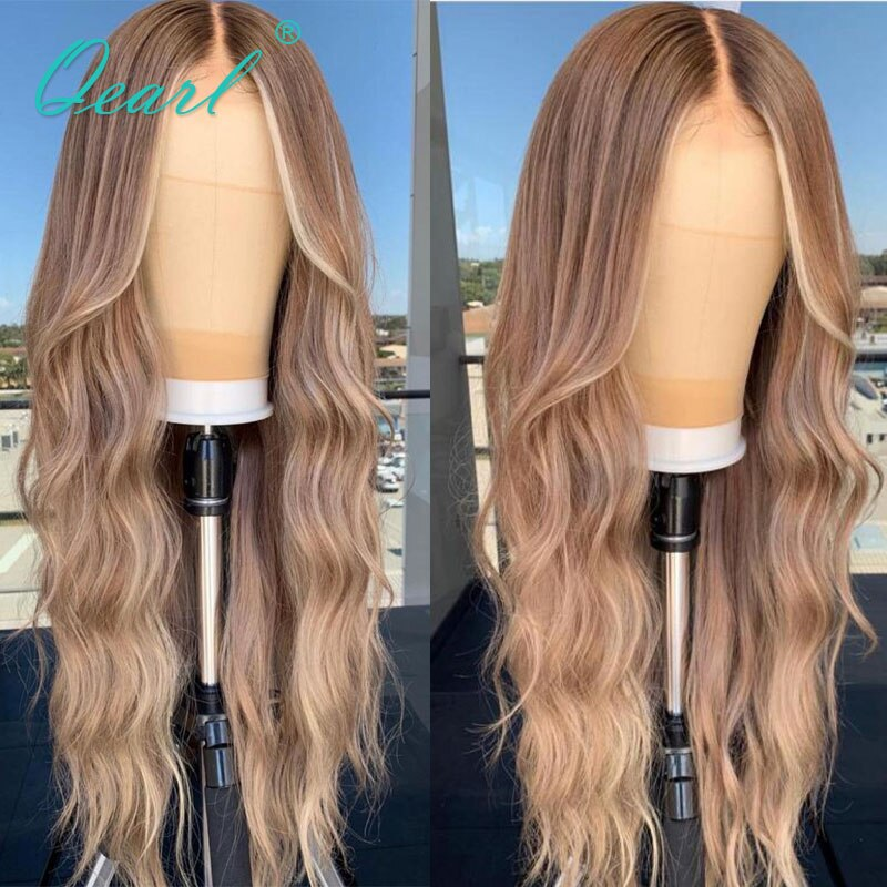 Caramel Light Blonde Balayage Human Hair Lace Front Wig 13x4/13x6 Natural Wave REmy Hair for Women Glueless 150% Qearl