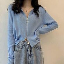 Chic Early Autumn Top Long Sleeve Short Peter Pan Collar Sweater Cardigan Thin Niche Hong Kong Style
