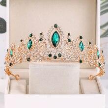 Di lusso di Cristallo Verde Corona di Nozze Sposa Diademi E Corone Queen Diadema di Spettacolo Del Partito Corona Da Sposa Accessori Dei Monili Dei Capelli