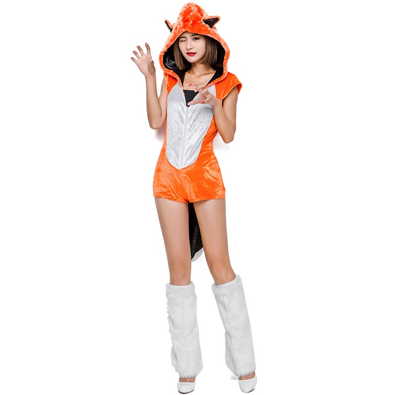 Umorden Orange Sexy Animal grande queue renard Costume femmes adulte Cosplay fantaisie disfrace combinaison Halloween fête Costumes
