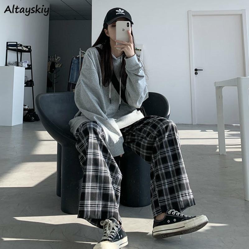Calças de perna larga das mulheres venda quente verão outono chique cintura alta all-match adolescentes streetwear ins na moda harajuku xadrez womens calças
