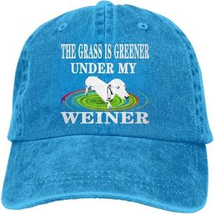 The Grass is Greener Under My Weiner Sports Denim Cap Adjustable Unisex Plain Baseball Cowboy Snapback Hat