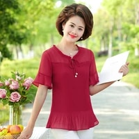 summer red green pink drape chiffon blouse women laced up collar ruffle short sleeve pleated top female thin fabric clothes 2021