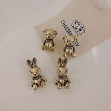 Linmouge New Golod Color Metal Animal Earrings For Women Vintage Cute Personality Simple Cartoon Swe