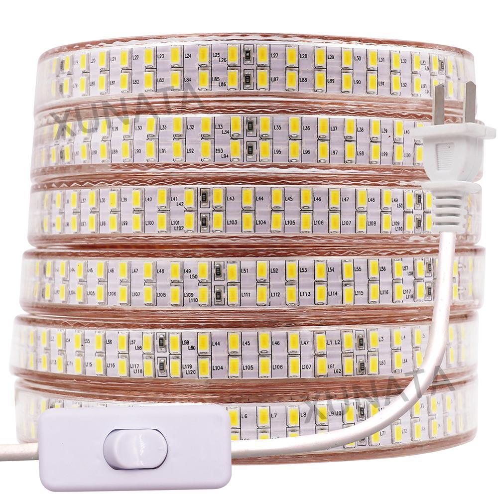 220V 110V 5730 LED de luz de tira de 240LEDs/M doble fila de LED impermeable cinta con US/EU/Reino Unido enchufe interruptor Blanco/blanco cálido