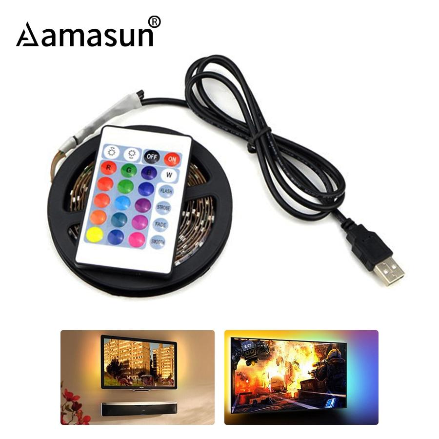 50cm - 5m LED TV Light 2835 SMD RGB LED Strip Light For PC HDTV Backlight Lamp with 3 key IR 24 key RF 17 Key Remote Controller