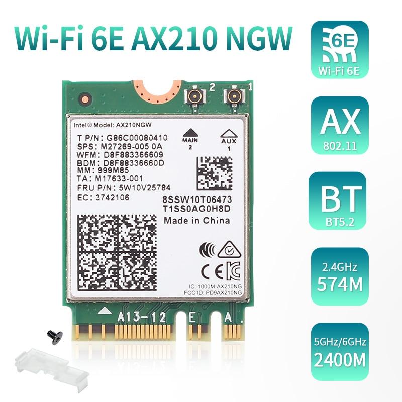Двухдиапазонная Wi-Fi 6E карта Intel AX210NGW, 3000 Мбит/с, 2,4 ГГц/5 ГГц/6 ГГц, 802.11AC/AX Bluetooth-compatible5.2, беспроводная Wi-Fi карта M.2 NGFF Wlan карта оплаты itunes 3000