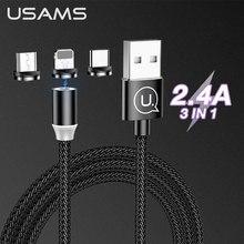 USAMS 3 en 1 câble magnétique Micro USB Type C pour iPhone câble déclairage 1 M fil type-c aimant chargeur téléphone câble cordon pour Xiaomi