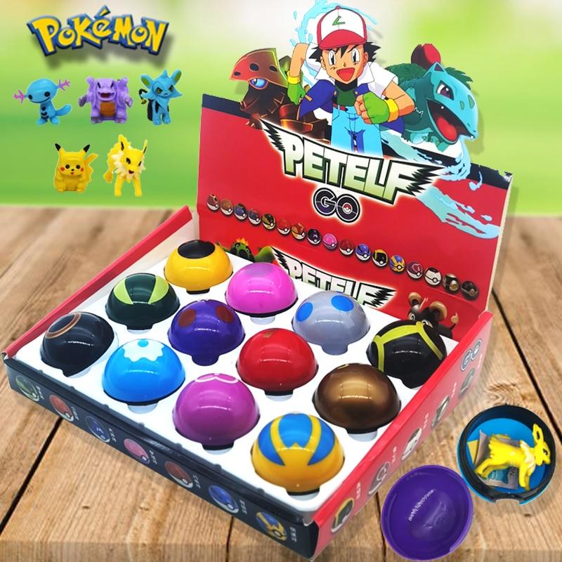 12 Pcs/Set PVC pokeball cute pokemon figures Toys for children Pikachu Japan Anime  figures Pokemon Ball pokemon go figures