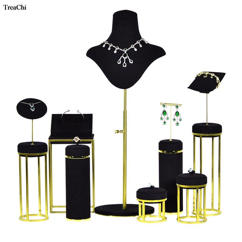 Metal dorado pendiente soporte para presentación de joyería collar negro anillo de diamante colgante gemelos soporte para presentación de joyería mostrador escaparate