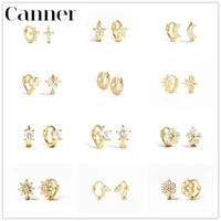 canner pendientes plata 925 for women sterling silver hoop earings flower star shape zircon cartilage jewelry huggie earrings w5