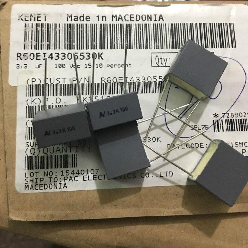 20 piezas AV R60 3,3 UF 100V P15MM cobre Condensador de película ARCOTRONICS 335/100V mkt 3.3U 100v 3300NF Italia 3,3 uF/100 V