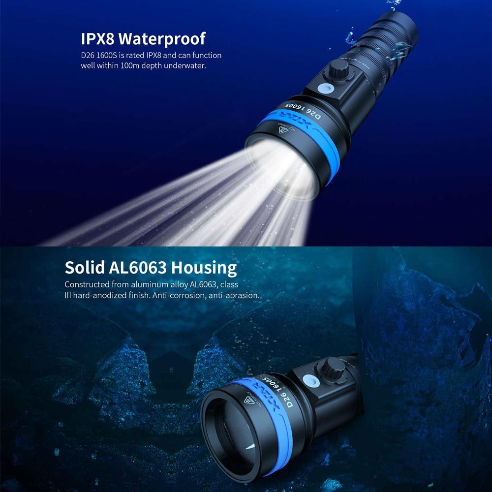 XTAR IPX8 Waterproof Diving Flashlight D26 1600S Professional Lighting Super bright led Scuba Diver Light Underwater Torch Lamp enlarge