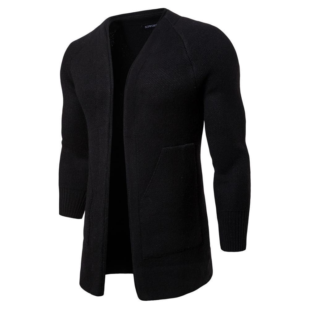 رجل سترة عادية الخريف الدافئة الصلبة الأسود البلوزات الملابس
