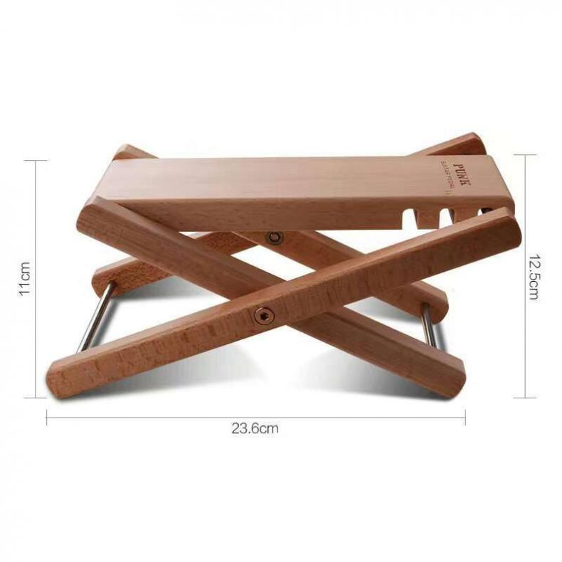 Guitar Footstool Solid Wood Folding Guitar Pedal Footstool with 3 Levels Height Adjustable Stand Footboard enlarge