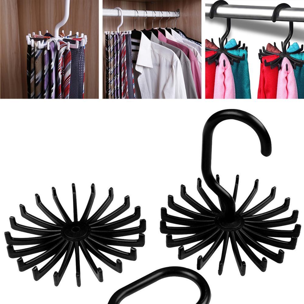 Plástico portátil 360 ° estantería giratoria para corbatas para armarios lazos giratorios gancho soporte cinturón COLGADOR PARA bufandas para hombres mujeres ropa organizz