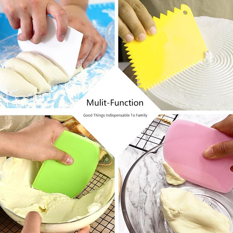3 шт./компл. «сделай сам», силиконовая форма для торта, скребок для крема, кухонные кондитерские изделия с неровными зубьями, шпатели, инструм...