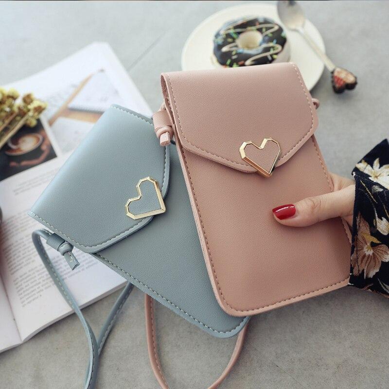 Женская сумка с сенсорным экраном, кошелек для мобильного телефона, кошелек для смартфона, кожаная сумка на плечевом ремне