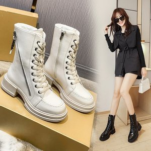 Leather Ankle Boots Women Autumn Winter Lady Low Square Heels Cross Strap Shoes 2021 Woman Lace Up Black Beige Motorcycle Boots