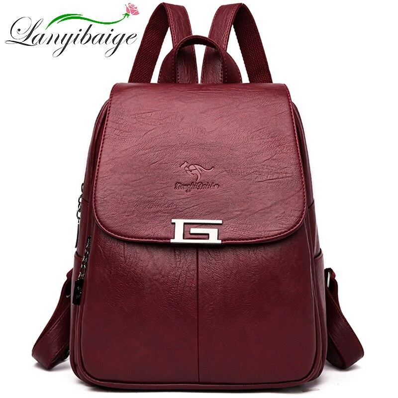 جديد 2 نمط المرأة حقيبة ظهر مصنوعة من الجلد الإناث حقيبة للظهر فينتاج ل حقيبة مدرسية للبنات السفر Bagpack 2019 السيدات Sac دوس عودة حزمة
