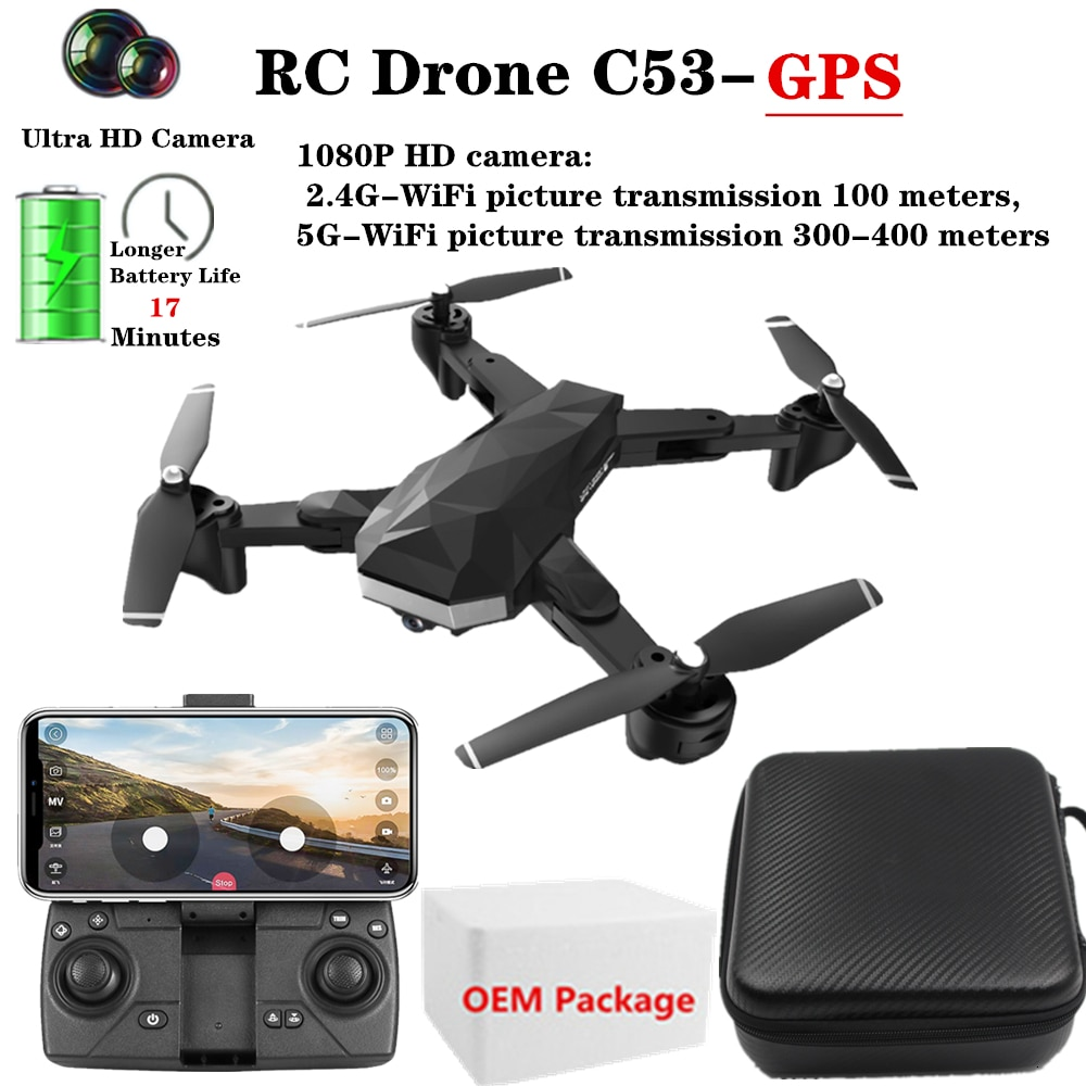 C53-GPS 4K RC Drones con 1080P 5G WiFi HD Cámara helicóptero altura mantener plegable Sígueme Quadcopter VS XS812 sd907 Dron Toy